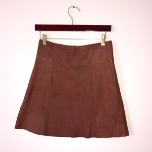 Goat leather mini skirt Zara small suede flare